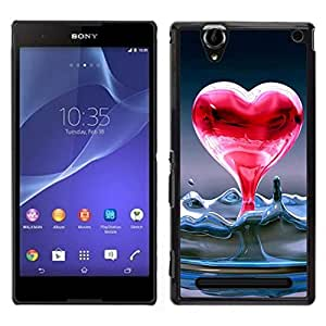 // PHONE CASE GIFT // Duro Estuche protector PC Cáscara Plástico Carcasa Funda Hard Protective Case for Sony Xperia T2 Ultra / Heart of liquid water /