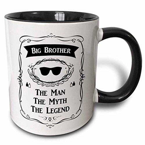 3D Rose 232413_4 Big Brother the Man the Myth the Legend Older Bro Elder Sibling Gift Two Tone Ceramic Mug, Black