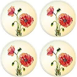 MSD Round Coasters Non-Slip Natural Rubber Desk Coasters design 28648491 Poppies Summer flowers invitation template card