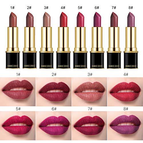 BONNIE CHOICE 8 Colors Matte Velvet Moisture Lipstick Set for Mother's Day Gift, Waterproof Long Lasting Matte Lip Sets for Women
