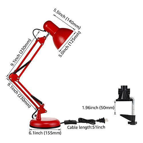 TORCHSTAR Metal Swing Arm Desk Lamp, Interchangeable Base Or Clamp, Classic Architect Clip On Table Lamp, Multi-Joint, Adjustable Arm, Red Finish by TORCHSTAR (Image #6)