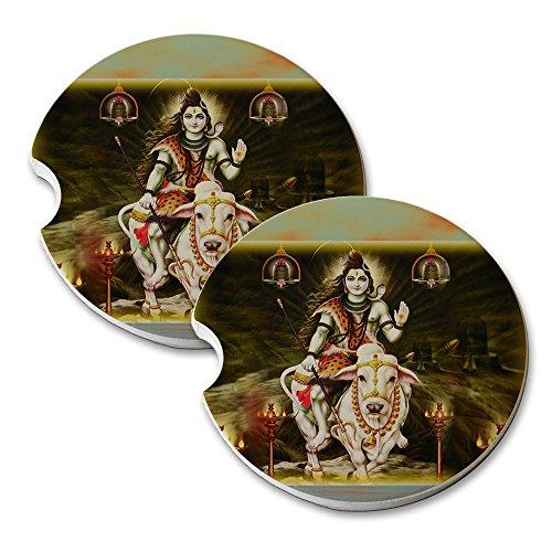Shiva Lord Hindu God - Car Cup Holder Natural Stone Drink Coaster Set