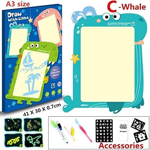 KLSK A4 A3主導の魔法輝く命と光楽しい1個教育おもちゃ描画ボードタブレット落書き (色 : New C whale)