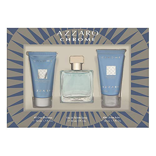 Loris Azzaro Chrome for Men 3 Piece Set with Eau de Toilette Spray + After Shave Balm + All Over Shampoo
