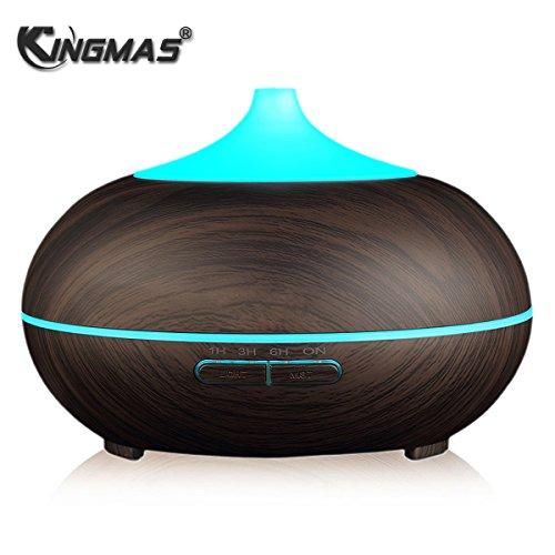 KINGMAS-300ml-Aroma-Essential-Oil-Diffuser-Ultrasonic-Cool-Mist-Humidifier-for-Office-Home-Bedroom-Living-Room-Study-Yoga-Spa-Wood-Grain
