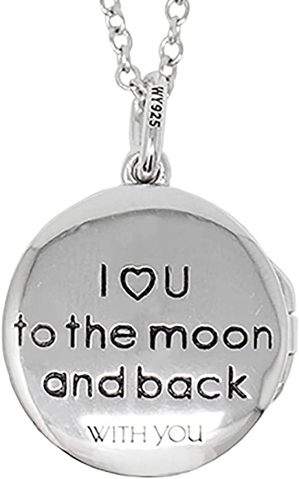 With You Lockets-Custom Photo Locket Necklace-That Holds Pictures for Girls-I Love You to The Moon and Back-The Sophia