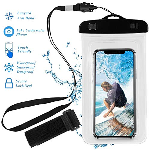 Universal Waterproof Case, Crazefoto Cellphone Dry Bag Pouch Compatible with iPhone Xs Max XR XS X 8 7 6S Plus, Samsung Galaxy S9/S9 +/S8/S8 +/Note 8 6 5 4, Pixel 3 XL Pixel 3 2 HTC up to 6.0 -White