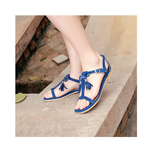 Womens Flat Gladiator Summer Sandals Buckle Beach shoes with Tassels Blue Q8i0z