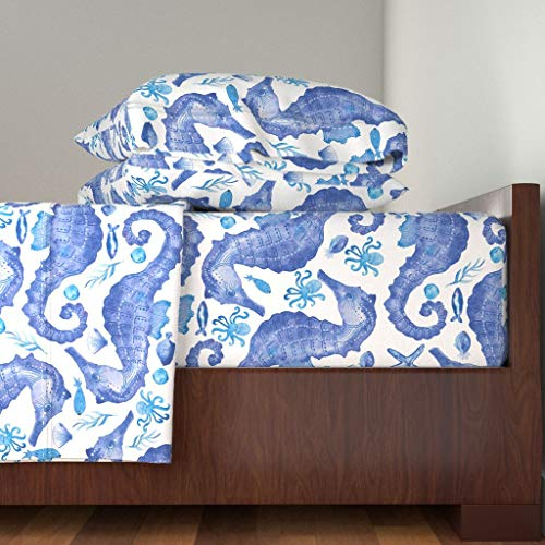 Roostery Nautical 4pc Sheet Set Watercolor Seahorse Endangered Species Sea Life Ocean by Kimmygowland 100% Cotton Sateen Queen Sheet Set (Endangered Set Species)