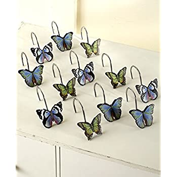 The Lakeside Collection Set Of 12 Butterfly Shower Curtain Hooks