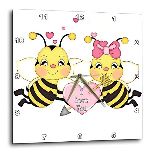 3dRose Cute I Love You Valentine Bumble Bee Couple Cartoon - Wall Clock, 10 by 10-Inch (DPP_102471_1)