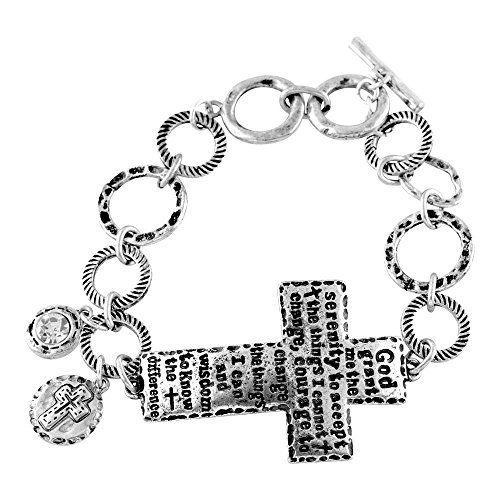 God Grant Me the Serenity Cross Hammered Women's Silver-Plated Toggle (Cross Toggle Bracelet)