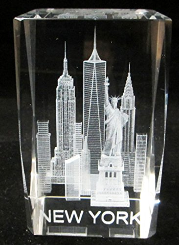 New York Souvenir NYC Skyline 3D Clear Crystal Laser Etched Glass Paperweight with Statue of Liberty Empire State Building Freedom Tower Large - Stores Manhattan Avenue 5th