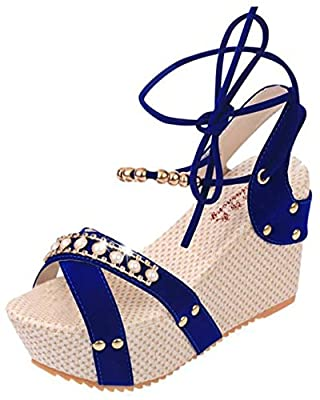 T&Mates Womens Fashion High Wedge Heel Summer Lace Up Beads Platform Shoes Flip Sandals