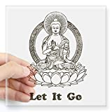 CafePress - Vintage Buddha Let It Go Sticker - Square Bumper Sticker Car Decal, 3'x3' (Small) or 5'x5' (Large)