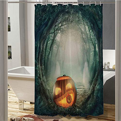 SfeatruCurtai Scary Halloween Pumpkin Enchanted Forest Mystic Twilight Party Art European Shower Curtain(59
