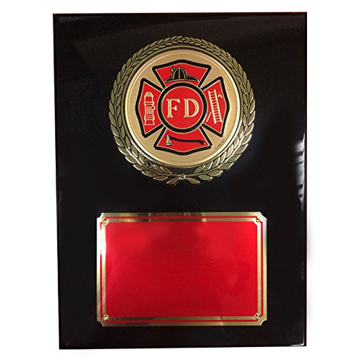 Customizable 9 x 12 Inch Black Piano Finish Plaque with Fire Department Medallion, includes Personalization