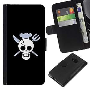 KLONGSHOP // Tirón de la caja Cartera de cuero con ranuras para tarjetas - Cráneo divertido del cocinero de la Muerte - HTC One M7 //