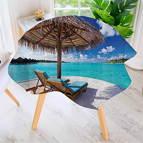 CANCAKA Round Tables in Washable Polyester- Seaside Sunds Under Umbrella Bathroom Accessories Tablecloth Ideal for Home, Restaurants 40