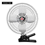 15W Electric clip on fan for car, 12V/24V Van Small Truck Inside Refrigeration Powerful Large Wind, 2 Speeds, Strong Clamp, Quiet Mini Personal Fan for Baby Stroller, Crib, Treadmill, Office, Outdoor