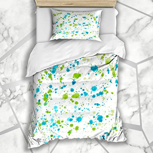 Ahawoso Duvet Cover Sets Twin 68X86 Color Blue Artistic Abstract Sophisticated Wonderful Gorgeous Multicolored Graphic Blob Blot Design Microfiber Bedding with 1 Pillow Shams