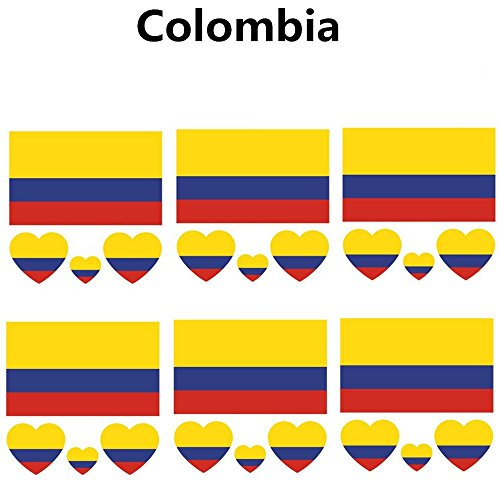(2018 Russia Soccer Match National Flags Tattoo, Fashionable Temporary Colombia Flags Tattoo Face Body Sticker for Soccer Fans Watching Football Sports Game 6)