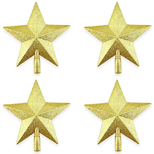 Kuqqi 4 Packs 8 Inches Tall Glittered Christmas Tree Topper Star Gold Star Treetop Star Sparkling Gold Shatter Resistant Plastic for Christmas Party Perfect for Any Size (Gold Christmas Trees For Stars)