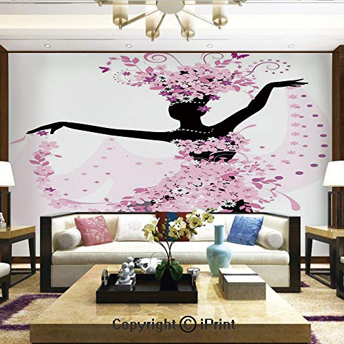 (Lionpapa_mural Removable Wall Mural | Self-Adhesive Large Wallpaper,Silhouette of a Woman Dancing Samba Salsa Latin Dances Spain and Mexico Culture Print Decorative,Home Decor - 100x144 inches)
