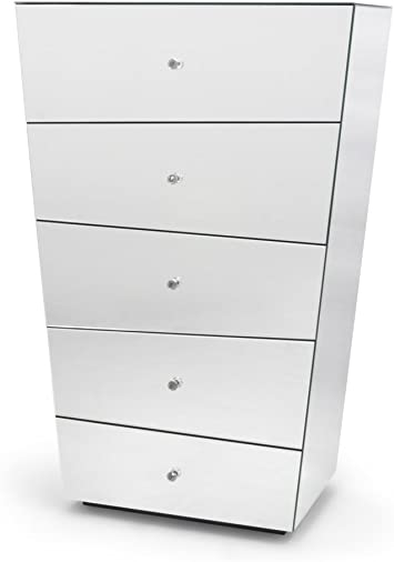 Amazon Com Zuri Furniture Vailan 5 Drawer Mirrored Modern Chest
