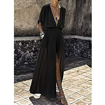 LHSTWQU Verano Mujer Túnica Vestido de Playa Pareo Botón Largo ...
