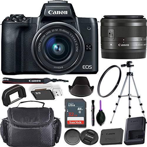 Canon EOS M50 Mirrorless Digital Camera (Black) + EF-M 15-45mm f/3.5-6.3 is STM Lens Bundled with Premium Accessories (32GB Memory Card, Padded Equipment Case and More)