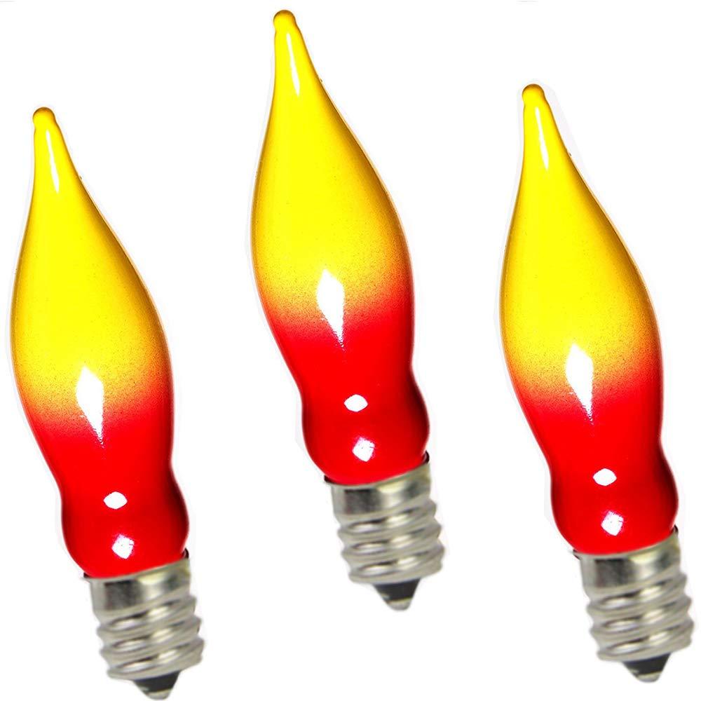12 Pack Goothy Orange C18 Flicker Flame String Light Bulbs-1 Watt//120 Volts// E12 Base