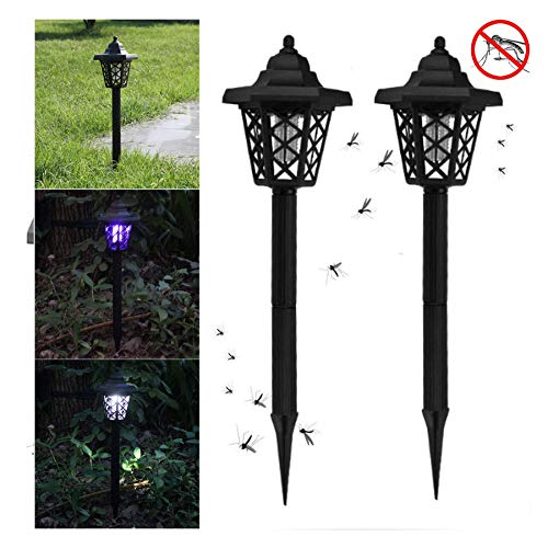 FILOL 2PCS Solar Powered LED Mosquito Trap Killer Lamps Bug Zapper Pest Insect Outdoor Indoor Garden Lawn Waterproof Gold Lamp Eliminator in Lawn Residential Ground Garden Patio