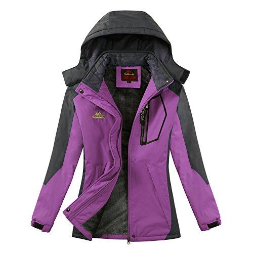 Magcomsen Womens Waterproof Mountain Snowboarding Fleece Ski Jackets Outdoorwear,Purple-new,Large (Snowboarding Jacket Ski)