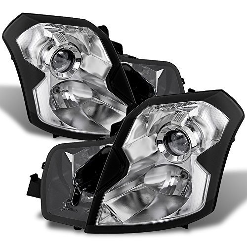 ACANII - For 2003-2007 Cadillac CTS Projector Stock Halogen Chrome Headlights Headlamp Replacement Driver+Passenger Side