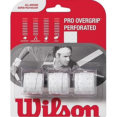 Wilson Sporting Goods Pro Perforated Tennis Racket Grip (Pack of 3), White - Wilson Racket Sports