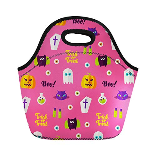 Semtomn Lunch Tote Bag Cat Halloween Boo of Holiday Trick Treat Autumn Bat Reusable Neoprene Insulated Thermal Outdoor Picnic Lunchbox for Men -