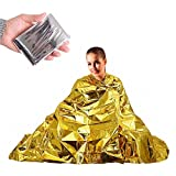 ElementDigital Emergency Blanket Emergency Space Thermal Blanket First Aid Thermal Survival Blanket Warming for Camping Hiking Backpacking Gold 10 Pack