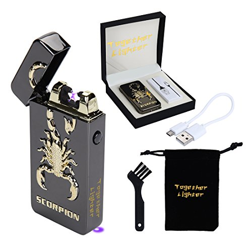USB Rechargeable Flameless Electronic Dual Pulse Arc Cigarette Lighter Belief-Windproof Arc Lighter Cross(Black (Cross Cigarette Lighter)