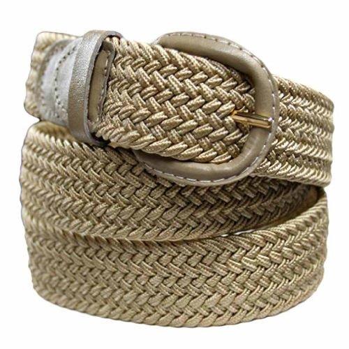 Luxury Divas Beige Braided Elastic Stretch Belt
