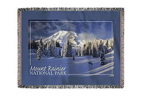 Mount Rainier National Park - Fox in Winter Scene (60x80 Woven Chenille Yarn Blanket) Scene Mount