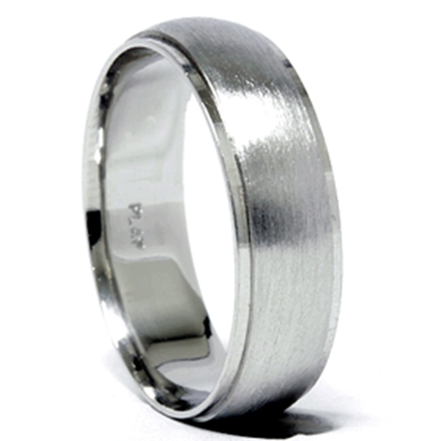 brushed mens wedding ring band fit platinum comfort