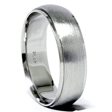 mens 950 platinum 6mm brushed wedding band ring new - Mens Platinum Wedding Ring