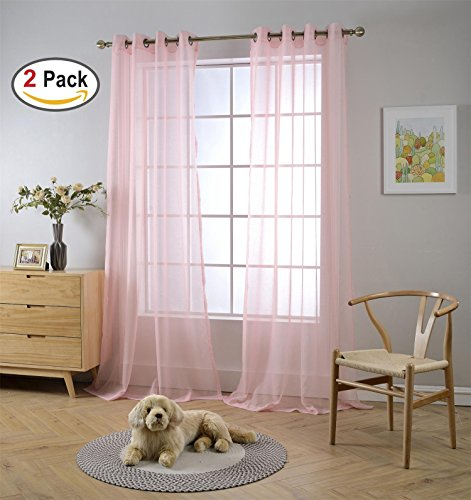 Miuco 2 Panels Grommet Textured Solid Sheer Curtains 84