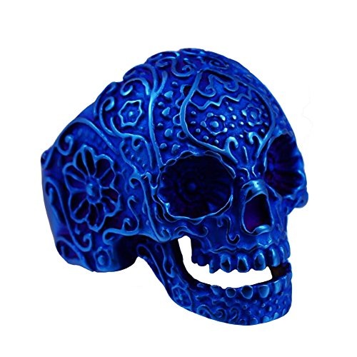 INRENG Men's Biker Stainless Steel Gothic Flower Skull Ring Halloween Jewelry Blue Size 10
