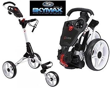 Sky Max Cube 3 Rueda Blanco/Blanco para carrito de Golf tirador/push nuevo + funda de viaje y tees unidades: Amazon.es: Deportes y aire libre