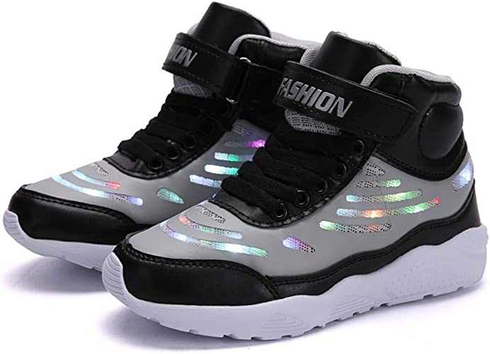 25-37 AGoGo Boys Girls LED Light Up Shoes for Kids USB Flashing Sneakers Charging Fashion Sneaker