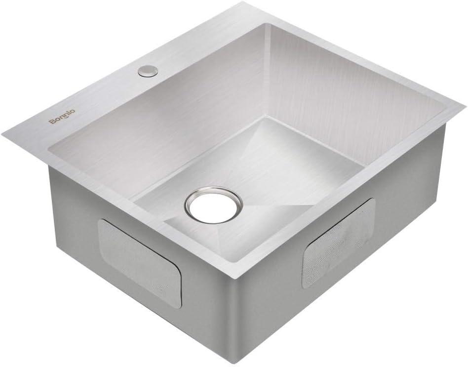 Scratch Protector Grid Bonnlo 25-inch 16 Gauge Drop-in//Topmount 304 Stainless Steel Kitchen Sink Single Bowl w//Strainer