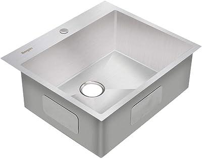 Bonnlo 25-inch 16 Gauge Drop-in/Topmount 304 Stainless Steel Kitchen Sink Single Bowl w/Strainer, Scratch Protector Grid