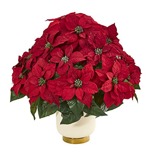 1964 Natural - Nearly Natural 1964 Poinsettia Artificial White Bowl Silk Arrangements Red